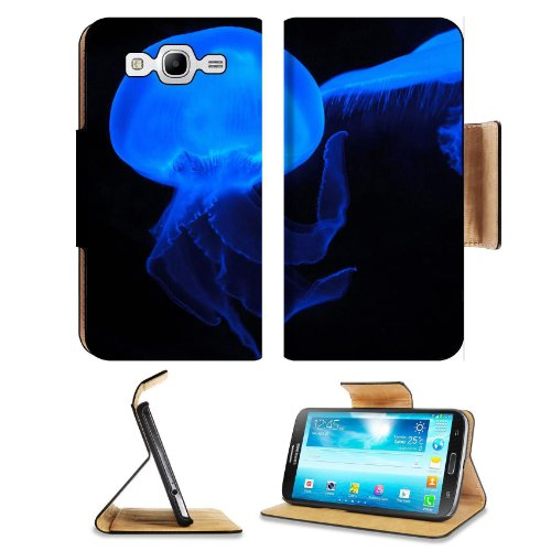 Moon Jellyfish Deep Sea Creature Neon Blue Transparent Samsung Galaxy Mega 5.8 I9150 Flip Case Stand Magnetic Cover Open Ports Customized Made To Order Support Ready Premium Deluxe Pu Leather 6 1/2 Inch (165Mm) X 3 2/5 Inch (87Mm) X 9/16 Inch (14Mm) Msd M