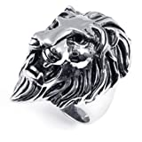 KONOV Jewelry Men's Biker Vintage Stainless Steel Lion Ring