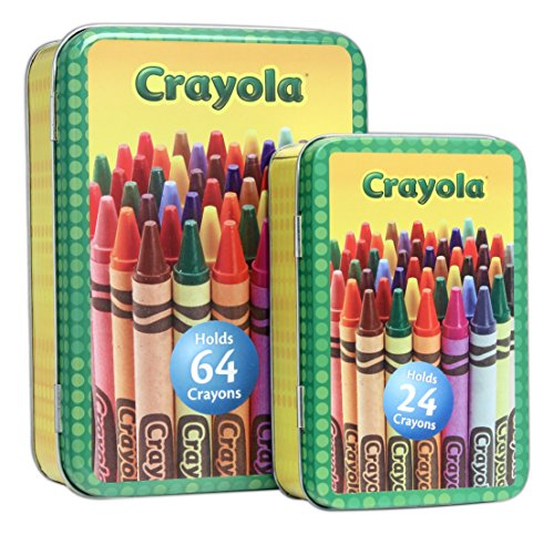 Bundle of 2 Tin Box Co Crayola Crayon Storage Tins - Crayons Not Included (The Tin Box Co compare prices)