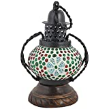 Rajkruti Wooden Handicraft Mosaic Glass Candle Tea Light Holder Showpiece(12 Cm X 9 Cm X 18 Cm,WH261)