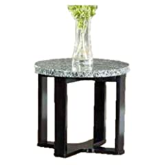 Steve Silver Gabriel Round Black Wood End Table with Marble Top