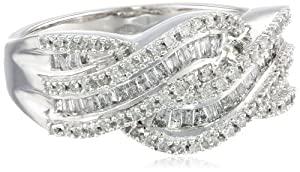 10k White Gold Diamond Twist Ring (1/2 cttw, I-J Color, I2-I3 Clarity), Size 7