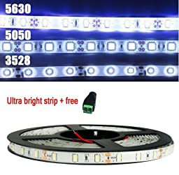 ALED LIGHT® New Arrival 16.4FT/5M SMD 5630 Cool White 300LED Waterproof Flexible LED Strip Light Kit For Vehicle/Stage/House/Holiday/Festival Decoration + Femail adapter+ 6A Power Supply