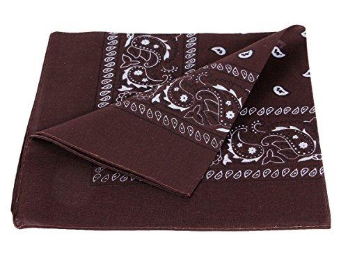 Bandana marrone scuro paisley multifunzione classica BA-71 di colori diversi foulard scialle collo rocker biker motociclista motorcycle pirata accessorio hip hop cappellino cowboy bracciale