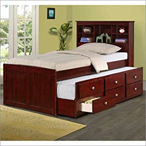 Bookcase Captains Bed with Trundle in Dark Cappuccino Twin from Donco