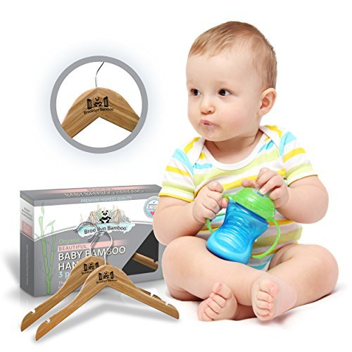Brooklyn Bamboo Organic Bamboo Baby Clothes Hangers 3 Pack