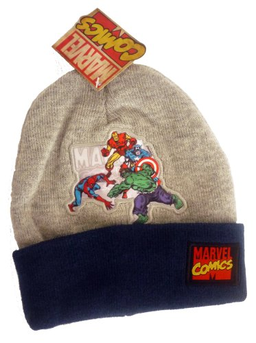 Official Licensed Genuine SuperHeroes Grey Marvel Comics Beanie Hat: THe Hulk, Spiderman, Captain America & Iron Man