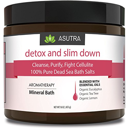 """DETOX & SLIM DOWN"" - 100% Pure Dead Sea Bath Salts / Cleanse, Purify & Fight Cellulite / Rich In Vital Healing Minerals / Aromatherapy /Organic Essential Oils of Eucalyptus, Tea Tree and Lemon - 16oz"