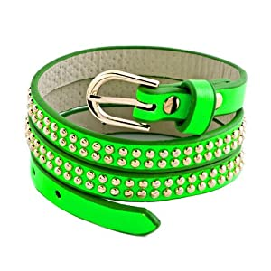 Pugster Stainless Steel Studded Peridot Green Leather Bracelet