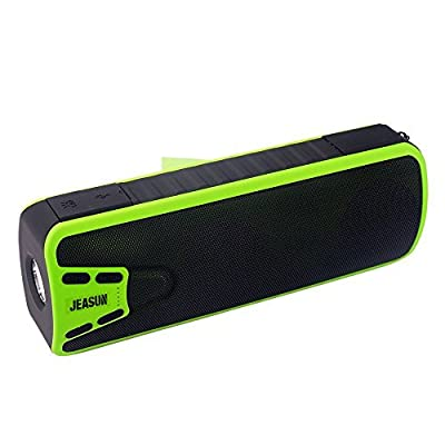 [New Release] Jeasun Bluetooth Speakers, Portable Outdoor/Indoor LED Flashlight + 10W Powerful Bass + Water Resistant + Wireless Bluetooth 3.0 Speaker with 4000mAh Emergency Powerbank-Green