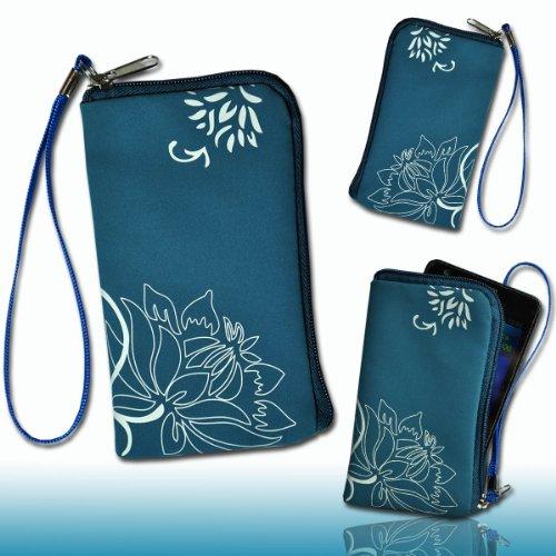 Handy Tasche türkis/weiß M54-2 für Samsung C3312 Rex60 / S5222R Rex80 / Galaxy Young S6310 / Galaxy Young Duos S6312 / Galaxy Pocket Plus S5301 / Samsung Galaxy Pocket Neo S5310 / Alcatel OT 903D / Alcatel OT Star 6010D