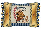 123 Creations 100-Percent Wool Boy with Lantern Petit Point Pillow with Fabric Trimmed, 16 W x 12 H