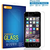 iPhone 5 5S 5S Screen Protector, Ballistic Tepmered Glass Screen Protector, F-color™ Anti-finger Silicone Adhensive Protector, Maximum Screen Protection from Bumps Drops Scrapes,0.3mm 2.5D HD 9H