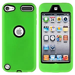 CommonByte Neon Green Deluxe Hybrid Hard Gel Case Cover For iPod Touch 5th Generation 5G 5
