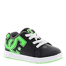 DC Court Graffik Elastic Skate Shoe (Toddler), Black/Green/White, 7 M US Toddler