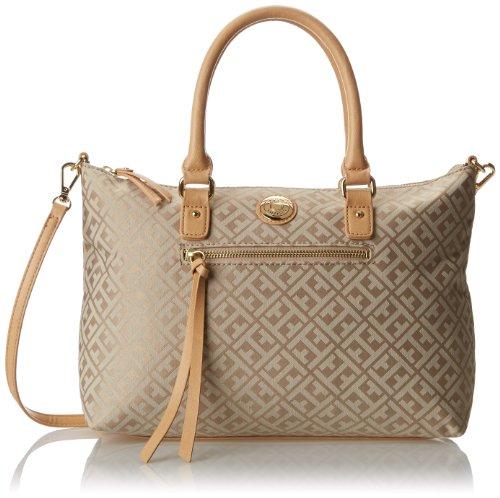 Tommy Hilfiger Tommy Club Convertible Shopper Jacquard Top Handle Bag,Khaki/Tonal,One Size