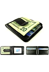 Enimay Genuine Leather Metal Money Spring Clip Horizontal Bifold Wallet ID Holder