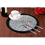 Set Of 2 - Black Silver Beaded Placemat For Round Table - Handmade Glass Beaded Placemat - Dia 14 Inches