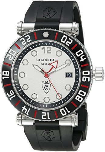 Charriol-Mens-Rotonde-Swiss-Quartz-Stainless-Steel-and-Rubber-Dress-Watch-ColorBlack-Model-RT42GMTB142G02