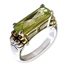 Designer Inspired Caviar Ring With Peridot CZ Size 8