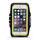 LENTION Sport Armband for 4.9-inch to 5.7-inch Cell Phones Smartphone Adjustable Belt Case Running Band Waterproof Sweat-proof with Key Holder and Card Holder (Black with Yellow)