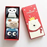 SUMEER ソックス 靴下 あったか 綿 厚手おしゃれ かわいい 冬秋キャラクター レディース プレゼント(3足セット)パンダ+羊+梟