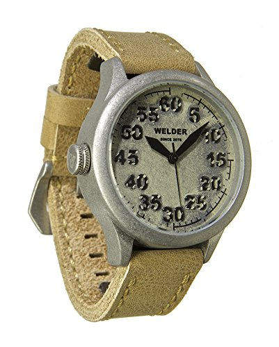 Welder Men's Quartz Watch with White Dial Analogue Display and Beige Leather Strap K20-501