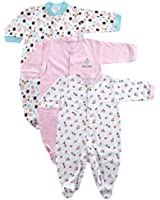 Snap Front Sleep N Play, 3-Pack (0-3 Months, LtPink)