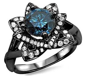 1.20ct Blue Round Diamond Lotus Flower Engagement Ring 14k Black Gold Rhodium Plating Over White Gold