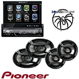 Soundstream VIR-7830B 1 DIN DVD/CD/MP3 Player Flip-Out Up Screen Bluetooth W Pioneer TS-165P + TS-695P Two Pairs 200W 6.5