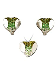 Exxotic Fashion Sterling Silver Green White American Diamond Earring Pendant Set For Women