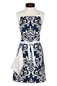 Lynne's Whim Edith Scroll Made in USA Apron (Navy)