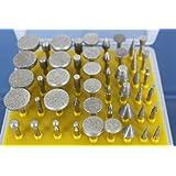 TEMO 50pcs Diamond coated grinder head lapidary glass burr for Dremel