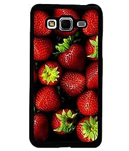 PRINTVISA Straberry Premium Metallic Insert Back Case Cover for Samsung Galaxy Grand Prime - G530F - D5997