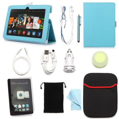 "Arion Kindle 11-Item Accessory Bundle Kit For New Amazon Kindle Fire Hdx 7"" Tablet - Folio Stand Pu Leather Case, Screen Protector, Cleaning Cloth, Stylus Pen,Car Charger,Usb Cable, Aux Cable, Earphone, Wire-Holding Box, Sleeve Case, Drawstring Travel Pou"