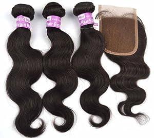 Meiz Hair® Extensions 3 Bundles + 1 Closure Body Wave Virgin Brazilian Hair Unprocessed Raw Weaving Extension, 3 Bundles 300 gram/ Pack Natural Color (1B) (20 22 24 +16