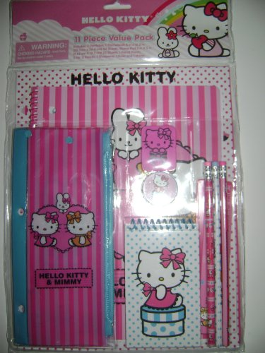 Hello Kitty Back to School 11 Piece Stationery School Supplies
