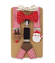 Mud Pie Baby-Boys Newborn Felt Icon Suspenders and Bow Tie Set, Multi, One Size