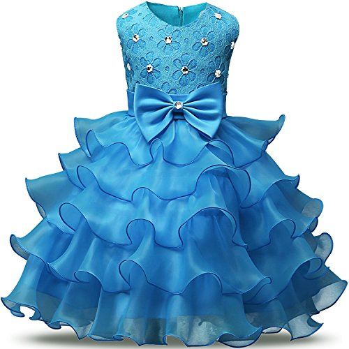NNJXD Girl Dress Kids Ruffles Lace Party Wedding Dresses Size 12-24 Months Light Blue (Baby Dress Light Blue compare prices)