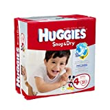 Huggies Baby Diapers, Snug & Dry, Size 4 (22 - 37 lbs), Case of 4/31s (124 ct)