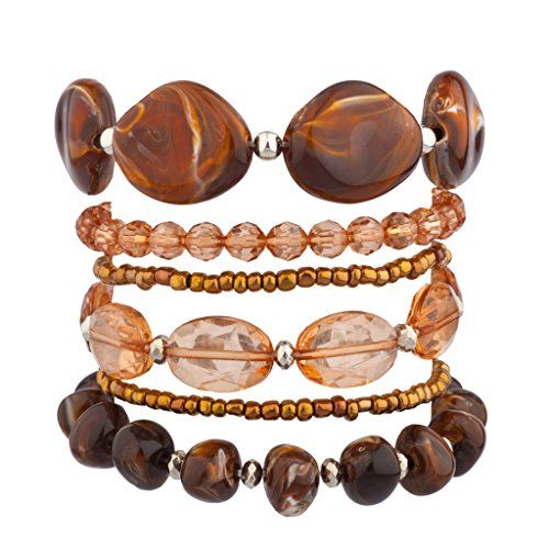 Lux Accessories Resin Stone Beaded Stretch Arm Candy Bracelet Set (Rose Resin Bracelet compare prices)