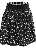 Summer Printed Short Faldas Saias Casual Vintage Skirts (regular, black)