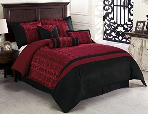 7Pcs Oriental Dynasty Black Red Jacquard Comforter Set Bed-In-A-Bag Queen Size