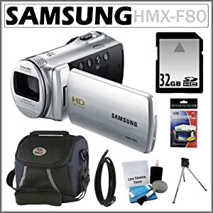 Samsung HMX-F80 HD Camcorder with 52x Optical Zoom and 2.7-inch LCD in Silver + 32GB Memory Card + HDMI To Mini-HDMI 6 Foot Cable + Accessory Kit