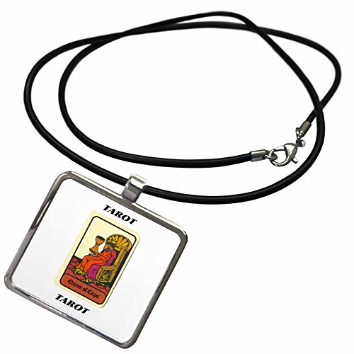 3dRose Florene Tarot Cards - Queen Of Cups - Necklace With Rectangle Pendant (ncl_34737_1)