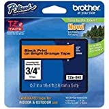 Brother Laminated Black on fluorescent Orange 3/4 Inch Tape - Retail Packaging (TZeB41) - Retail Packaging