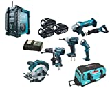 Makita 18V LXT Li Ion LXT600 6 Piece Kit And BMR101 Job Site Radio With Dab