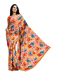 Ethnic Trend Chiffon Saree With Blouse Piece - B00OOVGJ9M