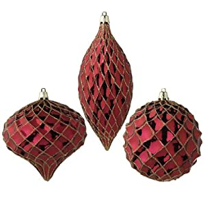 RAZ Imports - Glittered Burgundy and Gold Ornaments