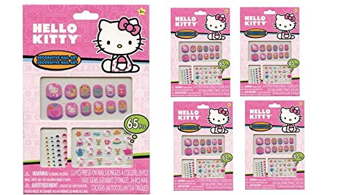 Hello Kitty 65 pcs Decorative Nail Art Nail Stickers and Gems x 4 packs (Nail Polish Handbag compare prices)